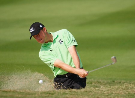 SHENZHEN, CHINA - NOVEMBER 21:  Soren Hansen of Denmark plays a bunker shot during the Pro - Am of the Omega Mission Hills World Cup at the Mission Hills Golf Resort on November 21, 2007 in Shenzhen, China.  (Photo by Stuart Franklin/Getty Images)