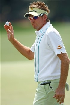 AUGUSTA, GA - APRIL 10:  Ian Poulter of England waves to the gallery after shooting at two-under par 70 during the first round of the 2008 Masters Tournament at Augusta National Golf Club on April 10, 2008 in Augusta, Georgia.  (Photo by Jamie Squire/Getty Images)