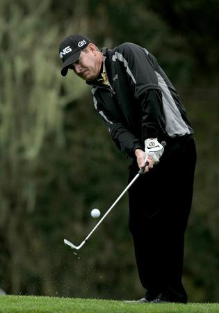 PEBBLE BEACH, CA - FEBRUARY 12:  Jeff Maggert chips onto the 11th green during the second round of the AT&T Pebble Beach National Pro-Am at Spyglass Hill Golf Course on February 12 2010 in Pebble Beach, California. (Photo by Stephen Dunn/Getty Images)
