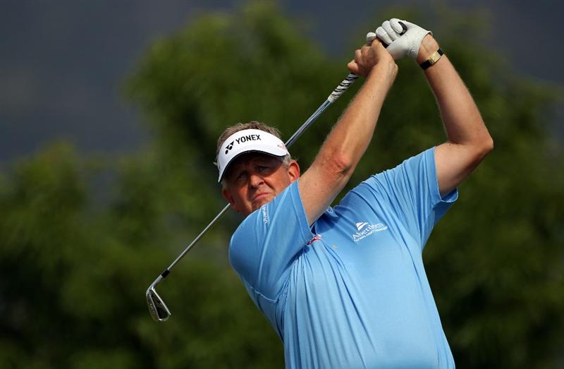 MALLORCA, SPAIN - MAY 12:  Colin Montgomerie of Scotland tees off on the 13th hole during day one of the Iberdrola Open at Pula Golf Club on May 12, 2011 in Mallorca, Spain.  (Photo by Julian Finney/Getty Images)