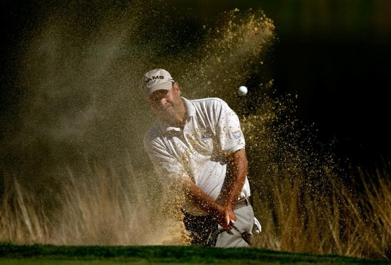 SUNRIVER, OR - AUGUST 21:  Brad Bryant hits out the bunker on the 12th hole during the second round of the Jeld-Wen Tradition on August 20, 2009 at the Crosswater Club at Sunriver Resort in Sunriver, Oregon.  (Photo by Jonathan Ferrey/Getty Images)