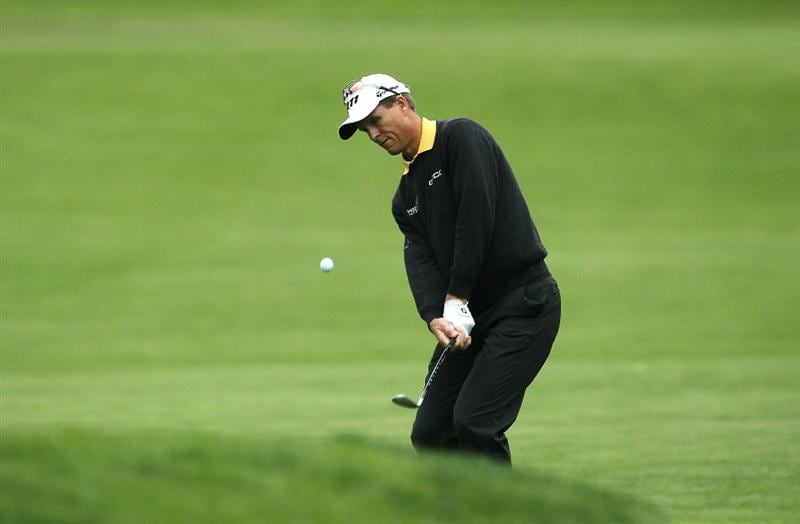 PACIFIC PALISADES, CA - FEBRUARY 18:  John Senden of Australia pitches on the tenth hole during round two of the Northern Trust Open at Riviera Country Club on February 18, 2011 in Pacific Palisades, California.  (Photo by Stephen Dunn/Getty Images)