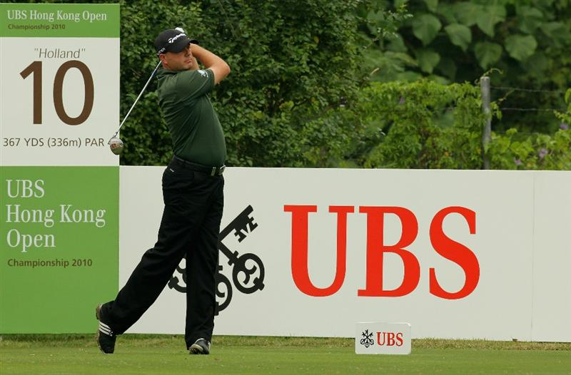 HONG KONG - NOVEMBER 18: Graeme Storm of England watches his tee shot on the 10th hole during the first round of the USB Hong Kong Open at The Hong Kong Golf Club  on November 18, 2010 in Hong Kong, Hong Kong.  (Photo by Stanley Chou/Getty Images)