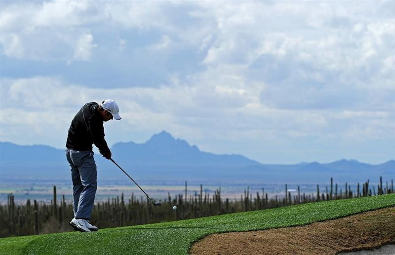 MARANA, AZ - FEBRUARY 21:  Paul Casey of England plays his approach shot on the 11th hole during the final round of the Accenture Match Play Championship at the Ritz-Carlton Golf Club at  on February 21, 2010 in Marana, Arizona.  (Photo by Stuart Franklin/Getty Images)