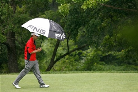 SILVIS, IL - JULY 10:  Heath Slocum walks off the second tee in a small rainshower during the first round of the 2008 John Deere Classic at TPC at Deere Run on Thursday, July 10, 2008 in Silvis, Illinois.  (Photo by Kevin C. Cox/Getty Images)