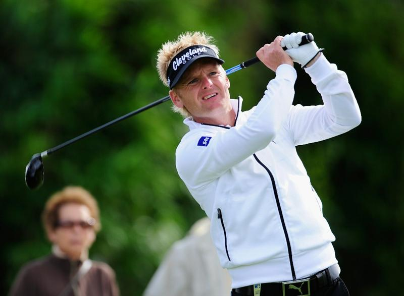PARIS - SEPTEMBER 25:  Soren Kjeldsen of Denmark plays his tee shot on the 10th hole during the third round of the Vivendi cup at Golf de Joyenval on September 25, 2010 in Chambourcy, near Paris, France.  (Photo by Stuart Franklin/Getty Images)