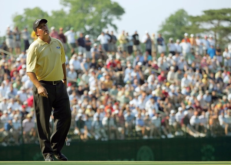 MAMARONECK, NY - JUNE 18: Phil Mickelson reacts to a missed putt during the final round of the 2006 US Open Championship at Winged Foot Golf Club on June 18, 2006 in Mamaroneck, New York. Geoff Ogilvy won the US Open with a one stroke victory. (Photo by Ezra Shaw/Getty Images)