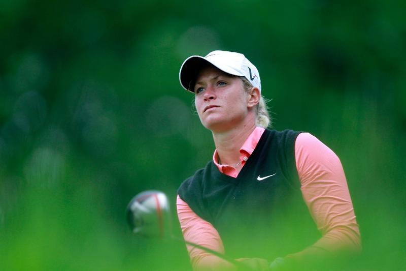GLADSTONE, NJ - MAY 22:  Suzann Pettersen of Norway hits her tee shot on the second hole during her match against Cristie Kerr in the final of the Sybase Match Play Championship at Hamilton Farm Golf Club on May 22, 2011 in Gladstone, New Jersey.  (Photo by Chris Trotman/Getty Images)
