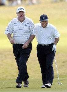 Allen Doyle, left, and Lee Trevino during the first round of the Champions Tour ACE Group Classic at The Club at TwinEagles on Friday, February 17, 2006, in Naples, Florida.Photo by Grant Halverson/WireImage.com