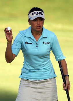 KAPOLEI, HI - FEBRUARY 23:  Stacy Prammanasudh reacts to her birdie on the first hole during the second round of the Fields Open at Ko Olina Golf Club on February 23, 2007 in Kapolei, Hawaii.  Prammanasudh finished her round at 10 under par.  (Photo by Harry How/Getty Images)