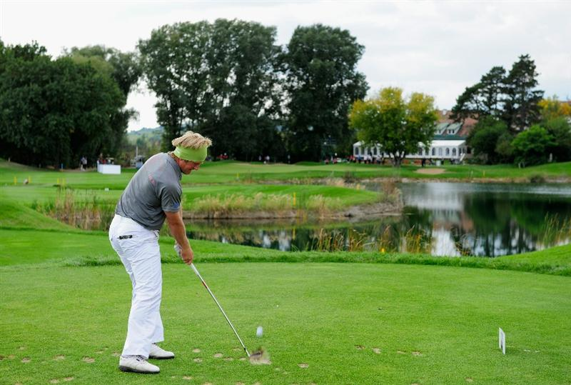 VIENNA, AUSTRIA - SEPTEMBER 18:  Pelle Edberg of Sweden plays his tee shot on the nineth hole during the third round of the Austrian golf open presented by Botarin at the Diamond country club on September 18, 2010 in Atzenbrugg near Vienna, Austria.  (Photo by Stuart Franklin/Getty Images)