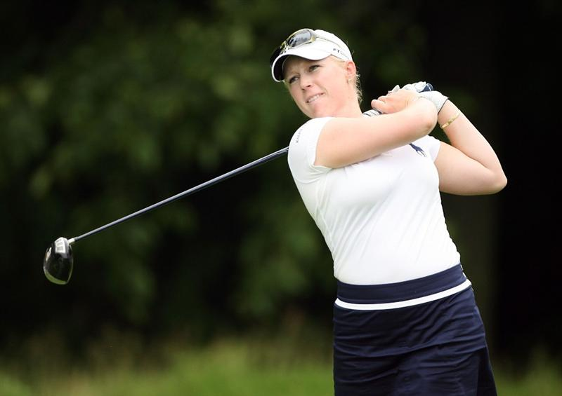 HAVRE DE GRACE, MD - JUNE 11:  Morgan Pressel hits her tee shot on the 4th hole during the first round of the McDonald's LPGA Championship at Bulle Rock Golf Course on June 11, 2009 in Havre de Grace, Maryland.  (Photo by Andy Lyons/Getty Images)
