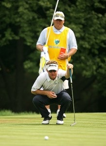 Brian Gay and caddie Kip Henley on the 3rd hole during the third round of The Barclays, the inaugural event of the new PGA TOUR Playoffs for the FedExCup at Westchester Country Club on August 25, 2007 in Harrison, New York. PGA TOUR - 2007 The Barclays - Third RoundPhoto by M. Ehrmann/WireImage.com