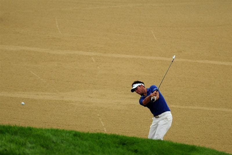VIENNA, AUSTRIA - SEPTEMBER 17:  Nick Dougherty of England plays from a fairway bunker on the 14th during the first round of the Austrian Golf Open at Fontana Golf Club on September 17, 2009 in Vienna, Austria.  (Photo by Richard Heathcote/Getty Images)