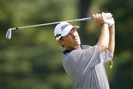 BETHESDA, MD - JULY 3: Davis Love III hits his second shot on the 4th hole during the first round of the AT&T National at Congressional Country Club on July 3, 2008 in Bethesda, Maryland. (Photo by Hunter Martin/Getty Images)