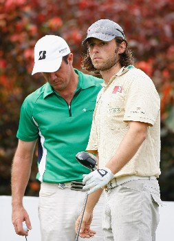 JAKARTA, INDONESIA - FEBRUARY 15:  Martin Wiegele of Austria and Scott Hend of Australia on the nineth hole during the second round of the 2008 Enjoy Jakarta Astro Indonesian Open at the Cengkareng Golf Club on February 15, 2008 in Jakarta, Indonesia.  (Photo by Stuart Franklin/Getty Images)