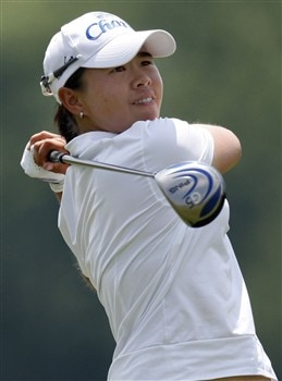 SPRINGFIELD, IL - JULY 18:  Onnarin Sattayabanphot from Thailand watches her tee shot on eighth hole during the second round of the State Farm Classic at Panther Creek Country Club on July 18, 2008 in Springfield, Illinois.  (Photo by Gregory Shamus/Getty Images)