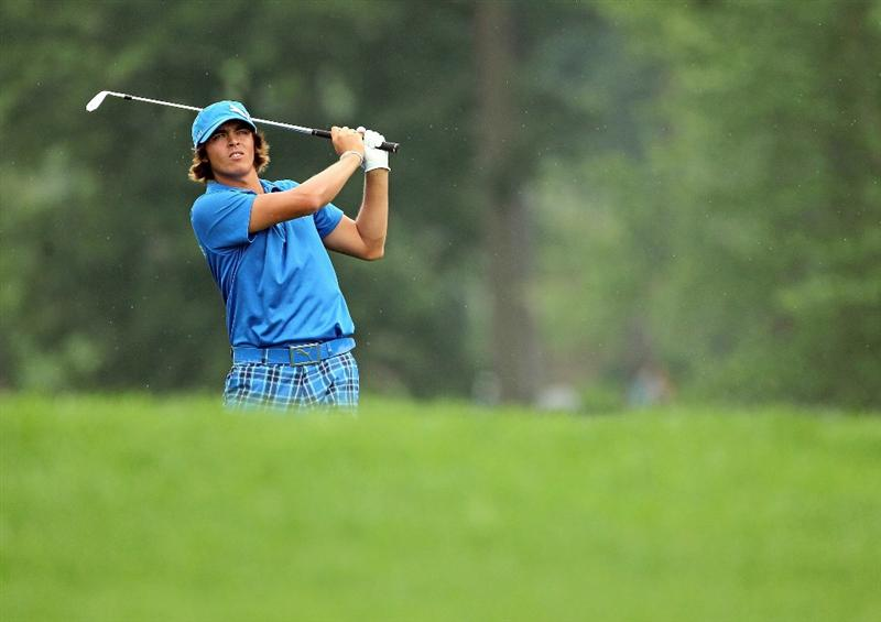 DUBLIN, OH - JUNE 05:  Rickie Fowler hits his second shot on the first hole during the third round of The Memorial Tournament presented by Morgan Stanley at Muirfield Village Golf Club on June 5, 2010 in Dublin, Ohio.  (Photo by Andy Lyons/Getty Images)