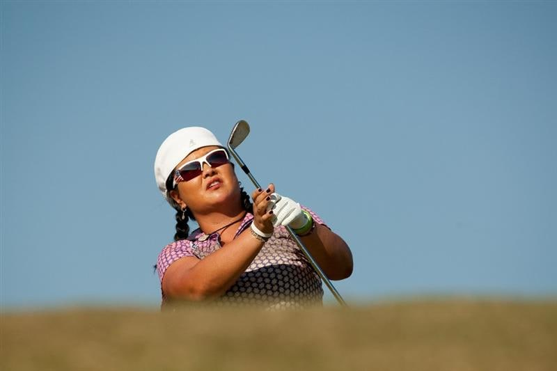 PRATTVILLE, AL - OCTOBER 7: Christina Kim watches a tee shot during the first round of the Navistar LPGA Classic at the Senator Course at the Robert Trent Jones Golf Trail at Capitol Hill on October 7, 2010 in Prattville, Alabama. (Photo by Darren Carroll/Getty Images)