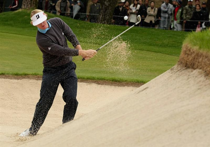 MIYAZAKI, JAPAN - NOVEMBER 23:  Brandt Snedeker of the USA plays a bunker shot on the 15th hole during the final round of the Dunlop Phoenix Tournament 2008 at Phoenix Country Club on November 23, 2008 in Miyazaki, Japan.  (Photo by Koichi Kamoshida/Getty Images)