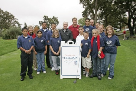 Children from local charities pose with Peter Jacobsen and Chuck Schwab promote the 'Drive To A Billion' campaign Wednesday October 26, during the 2005 Schwab Cup Championship at Sonoma Golf Club - Sonoma, California.Photo by Chris Condon/PGA TOUR/WireImage.com