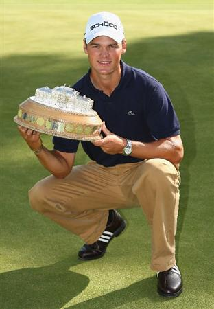 LUSS, UNITED KINGDOM - JULY 12:   Martin Kaymer of Germany holds the trophy following his victory during the Final Round of The Barclays Scottish Open at Loch Lomond Golf Club on July 12, 2009 in Luss, Scotland. (Photo by Richard Heathcote/Getty Images)