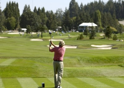 Wayne Levi follows his shot during the final round of the JELD-WEN Tradition at The Reserve Vineyards & Golf Club in Aloha, Oregon on, August 27, 2006.Photo by Steve Levin/WireImage.com