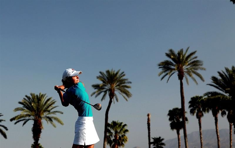 RANCHO MIRAGE, CA - APRIL 03:  Lorena Ochoa of Mexico plays her tee shot at the 16th hole during the third round of the 2010 Kraft Nabisco Championship, on the Dinah Shore Course at The Mission Hills Country Club, on April 3, 2010 in Rancho Mirage, California.  (Photo by David Cannon/Getty Images)