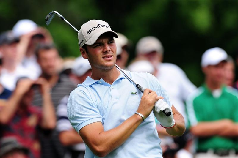 CHASKA, MN - AUGUST 13:  Martin Kaymer of Germany watches his tee shot on the fourth hole during the first round of the 91st PGA Championship at Hazeltine National Golf Club on August 13, 2009 in Chaska, Minnesota.  (Photo by Stuart Franklin/Getty Images)
