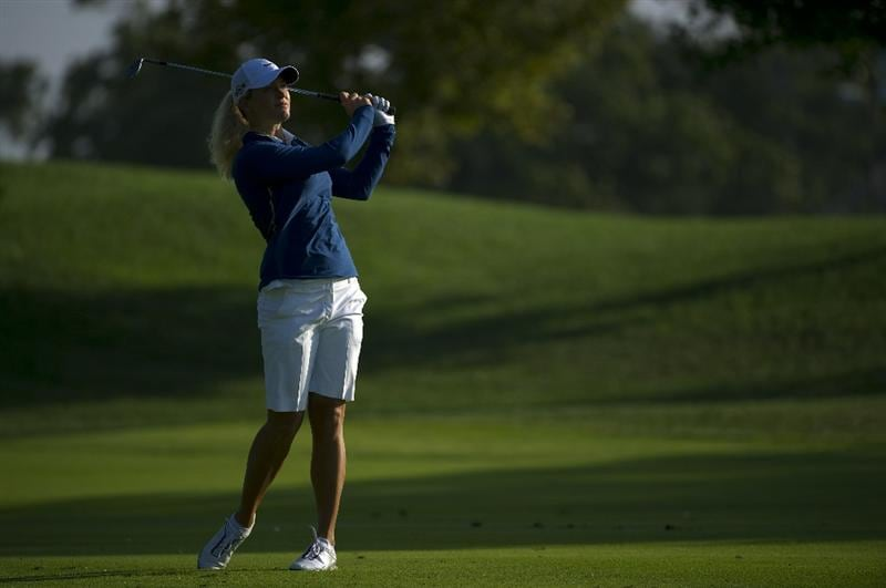 ROGERS, AR - SEPTEMBER 10:  Suzann Pettersen of Norway makes an approach shot during the first round of the P&G NW Arkansas Championship at the Pinnacle Country Club on September 10, 2010 in Rogers, Arkansas.  (Photo by Robert Laberge/Getty Images)