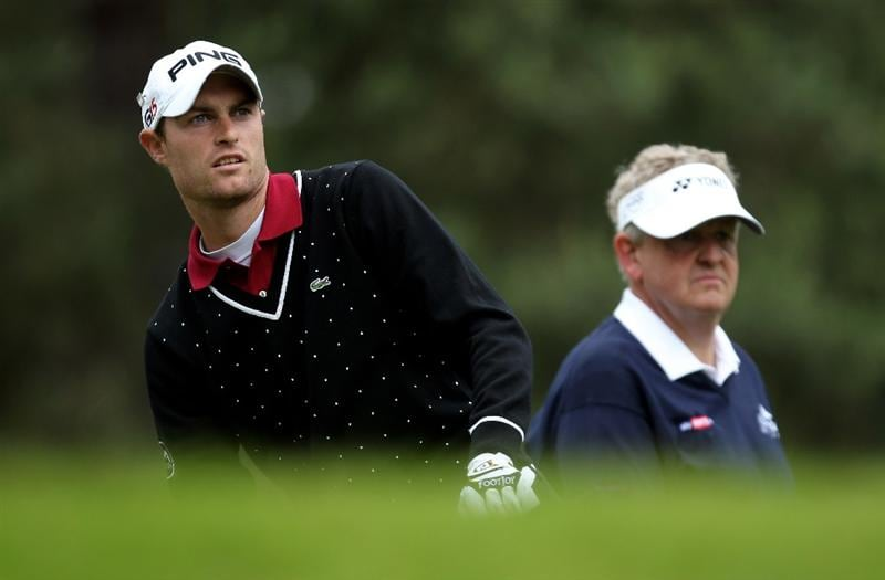 VIRGINIA WATER, ENGLAND - MAY 28:  Rhys Davies of Wales watches a tee shot during the third round of the BMW PGA Championship at the Wentworth Club on May 28, 2011 in Virginia Water, England.  (Photo by Ian Walton/Getty Images)