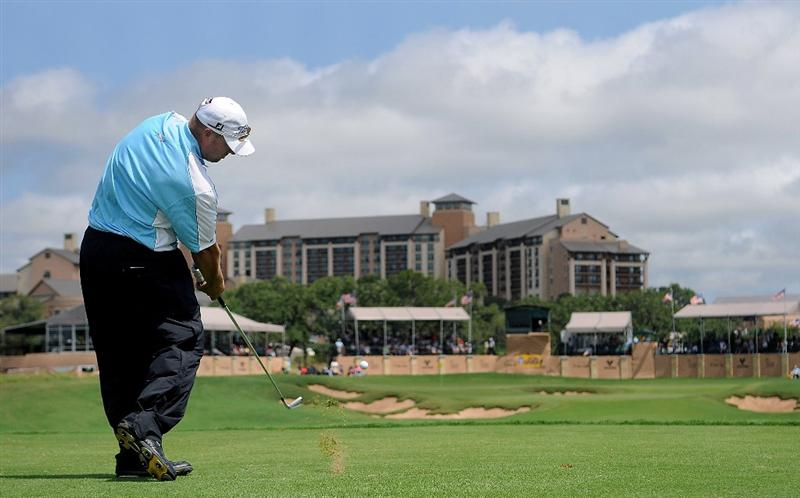 SAN ANTONIO, TX - MAY 15:  Brett Wetterich tees off on the par three 16th hole during the second round of the Valero Texas Open at the TPC San Antonio on May 15, 2010 in San Antonio, Texas. (Photo by Marc Feldman/Getty Images)