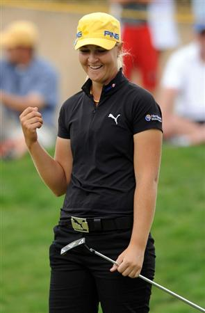 NORTH PLAINS, OR - AUGUST 28: Anna Nordqvist of Sweden reacts after sinking a birdie putt on the 17th hole during the first round of the Safeway Classic on August 28, 2009 at Pumpkin Ridge Golf Club in North Plains, Oregon. (Photo by Steve Dykes/Getty Images )