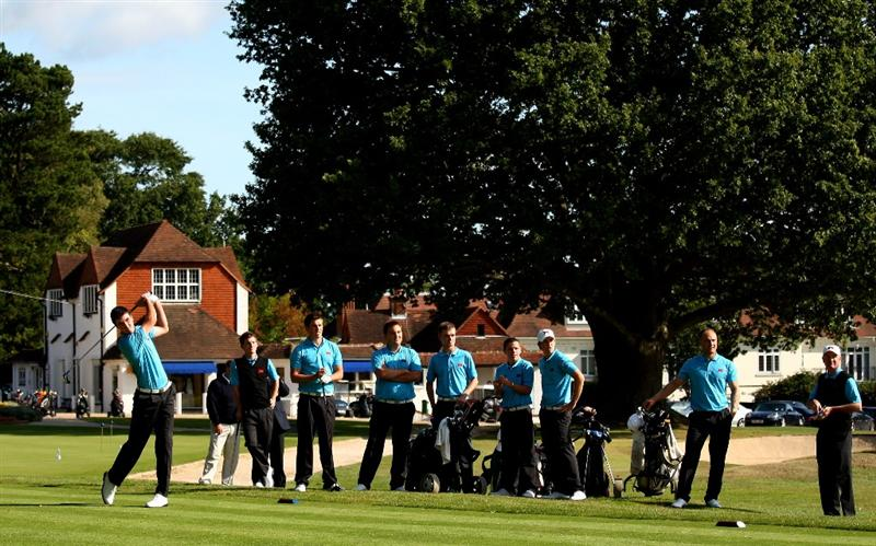 SUNNINGDALE, ENGLAND - SEPTEMBER 04:  Members of the GB&I Walker Cup Team during a Practice round at Sunningdale Golf Club on September 4, 2009 in Sunningdale, England.  (Photo by Richard Heathcote/Getty Images)