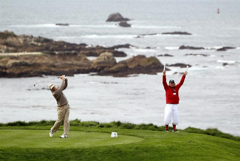 PEBBLE BEACH, CA - FEBRUARY 11:  Retief Goosen of South Africa tees off on the fourth hole during the first round of the AT&T Pebble Beach National Pro-Am at at the Spyglass Hill Golf Course on February 11, 2010 in Pebble Beach, California.  (Photo by Ezra Shaw/Getty Images)