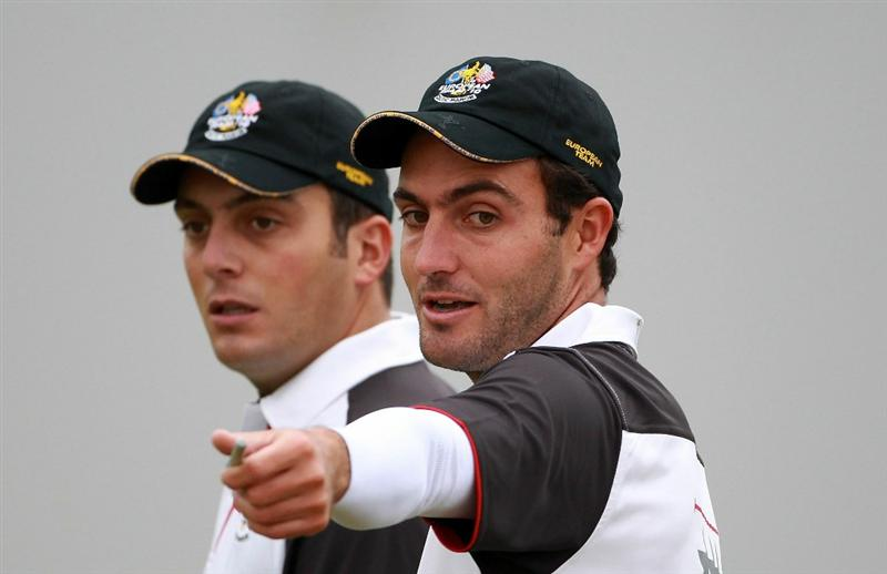NEWPORT, WALES - SEPTEMBER 28:  Edoardo Molinari (R) and Francesco Molinari of Europe chat during a practice round prior to the 2010 Ryder Cup at the Celtic Manor Resort on September 28, 2010 in Newport, Wales.  (Photo by Scott Halleran/Getty Images)