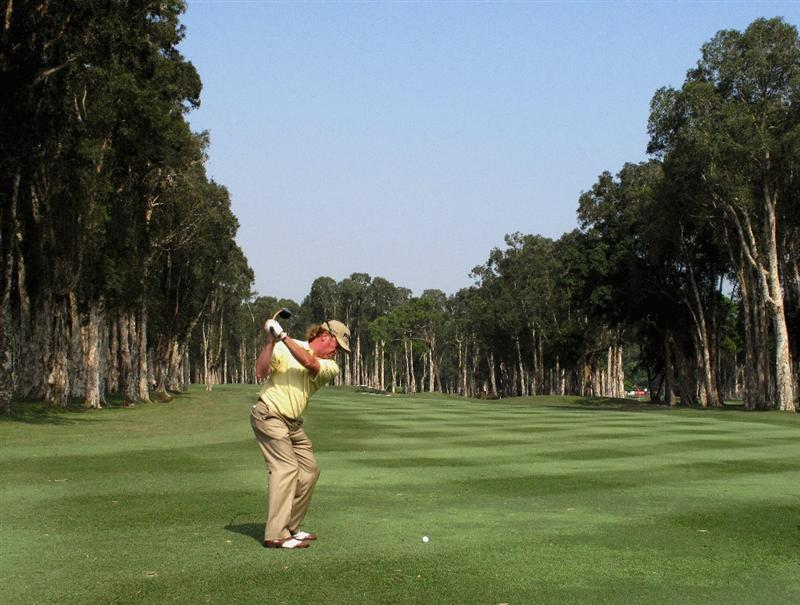 HONG KONG, CHINA - NOVEMBER 19:  Miguel Angel Jimenez of Spain plays his appraoch shot during the pro - am of the UBS Hong Kong Open at the Hong Kong Golf Club on November 19, 2008 in Fanling, Hong Kong.  (Photo by Stuart Franklin/Getty Images)
