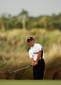 Shigeki Maruyama hits a chip shot onto the 17th green during the final round of the Ginn Sur Mer Classic at Tesoro on October 29, 2007 in Port Saint Lucie, Florida. PGA TOUR - 2007 Ginn sur Mer Classic - Final RoundPhoto by Doug Benc/WireImage.com