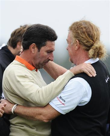 BARCELONA, SPAIN - MAY 07:  Spanish golf players Jose Maria Olazabal of Spain (L) and Miguel Angel Jimenez (R) after the minute silence held in memory of Seve Ballesteross during the third round of the Open de Espana at the the Real Club de Golf El Prat on May 7 , 2011 in Barcelona, Spain.  (Photo by David Ramos/Getty Images)