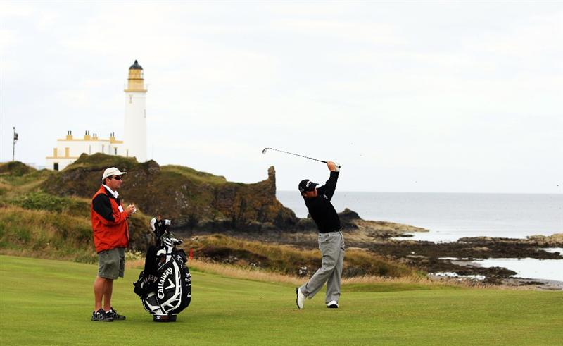 TURNBERRY, SCOTLAND - JULY 13:  Graeme McDowell of Northern Ireland plays on the 10th hole during the practice round of the 138th Open Championship on July 13, 2009 on the Ailsa Course, Turnberry Golf Club, Turnberry, Scotland.  (Photo by Ross Kinnaird/Getty Images)