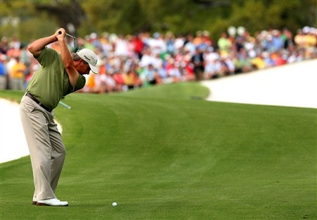AUGUSTA, GA - APRIL 11:  Fred Couples hits his second shot on the 18th hole during the second round of the 2008 Masters Tournament at Augusta National Golf Club on April 11, 2008 in Augusta, Georgia.  (Photo by Andrew Redington/Getty Images)