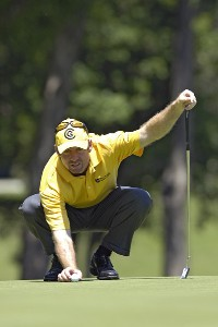 Rod Pampling lines up a birdie putt on the 8th hole during the third round of the Bank of America Colonial held at the Colonial Country Club on Saturday , May 20, 2006 in Ft. Worth, TexasPhoto by Marc Feldman/WireImage.com