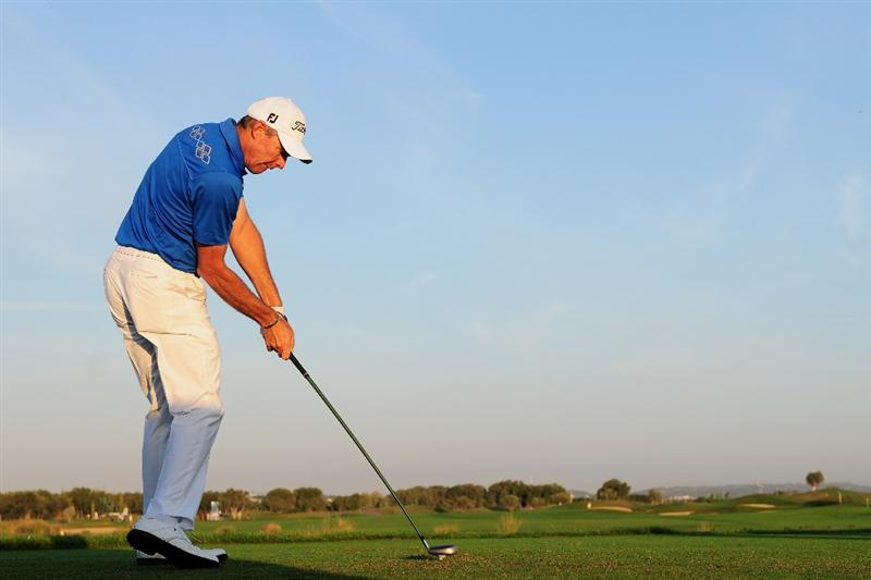 VILAMOURA, PORTUGAL - OCTOBER 16:  James Kingston of South Africa plays his tee shot on the 11th hole during the second round of the Portugal Masters at the Oceanico Victoria Golf Course on October 16, 2009 in Vilamoura, Portugal.  (Photo by Stuart Franklin/Getty Images)