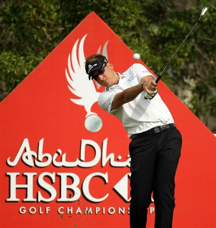 ABU DHABI, UNITED ARAB EMIRATES - JANUARY 19: Ian Poulter of England during the pro-am event prior to the Abu Dhabi HSBC Golf Championship at the Abu Dhabi Golf Club on January 19, 2011 in Abu Dhabi, United Arab Emirates.  (Photo by Ross Kinnaird/Getty Images)