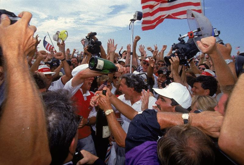 29 Sep 1991:  Payne Stewart of the USA pours champagne over team mate Hale Irwin after victory in the Ryder Cup at Kiawah Island in South Carolina, USA. \ Mandatory Credit: Simon Bruty /Allsport