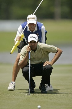 PGA Tour-Zurich Classic of New Orleans-1st Round:  Arjun Atwal  on the 17th hole during the second round of the Zurich Classic being played at The TPC of New Orleans in New Orleans, Louisiana on April 29, 2005. Atwal leads after the second round at -11 under par.Photo by Mike Ehrmann/WireImage.com