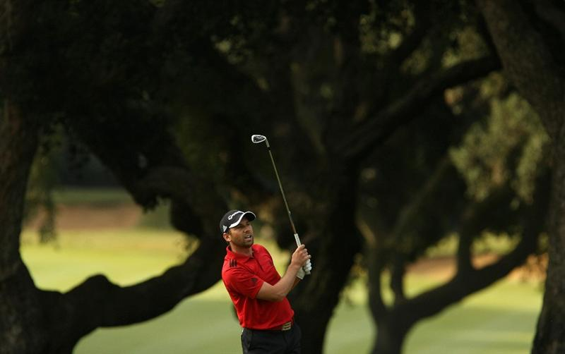 SOTOGRANDE, SPAIN - OCTOBER 29:  Sergio Garcia of Spain plays into the 2nd green during the second round of the Andalucia Valderrama Masters at Club de Golf Valderrama on October 29, 2010 in Sotogrande, Spain.  (Photo by Richard Heathcote/Getty Images)