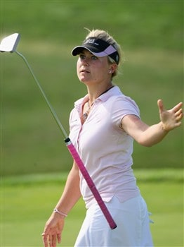 MUNICH, GERMANY - MAY 30:  Martina Eberl of Germany reacts to her putt on the fifth hole during the second round of the Hypo Vereinsbank Ladies German Open Golf at Golfpark Gut Hausern on May 30, 2008 near Munich, Germany.  (Photo by Stuart Franklin/Bongarts/Getty Images)