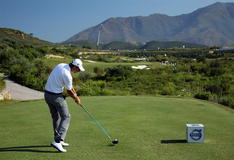 CASARES, SPAIN - MAY 22:  Nicolas Colsaerts of Belgium hits his tee-shot on the fifth hole during the semi final of the Volvo World Match Play Championship at Finca Cortesin on May 22, 2011 in Casares, Spain.  (Photo by Andrew Redington/Getty Images)