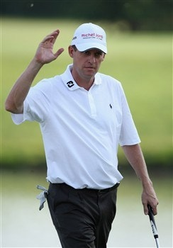 MILAN, ITALY - MAY 09:  Anders Hansen of Denmark celebrates his putt on the 18th hole during the second round of the MC Methorios Capital Italian Open Golf at The Castello Di Tolcinasco Golf Club on May 9, 2008 in Milan, Italy.  (Photo by Stuart Franklin/Getty Images)